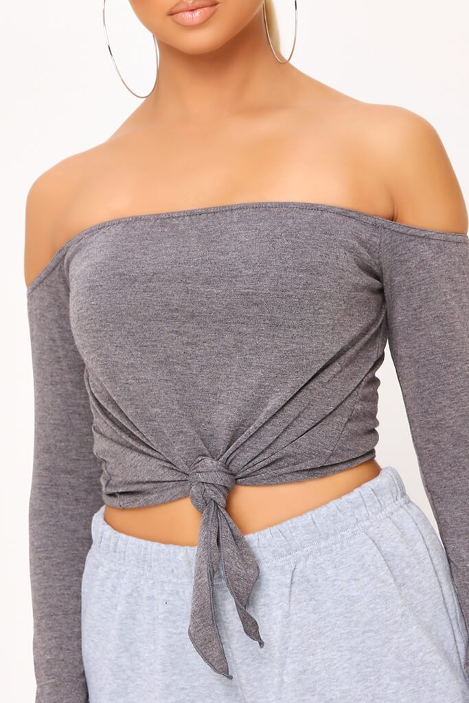 Charcoal Bardot Tie Knot Long Sleeve Crop Top view 4