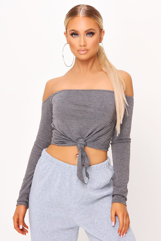 Charcoal Bardot Tie Knot Long Sleeve Crop Top
