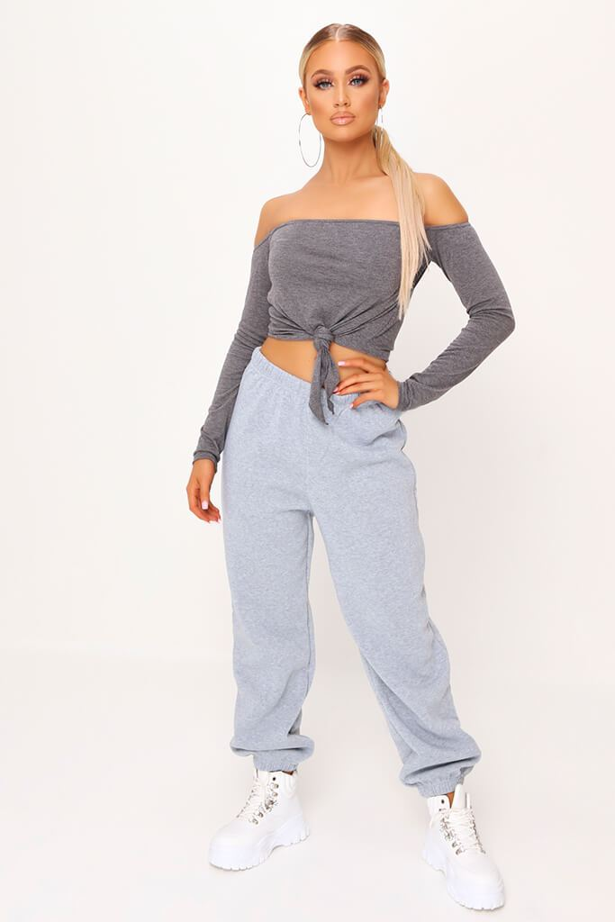 Charcoal Bardot Tie Knot Long Sleeve Crop Top view 2