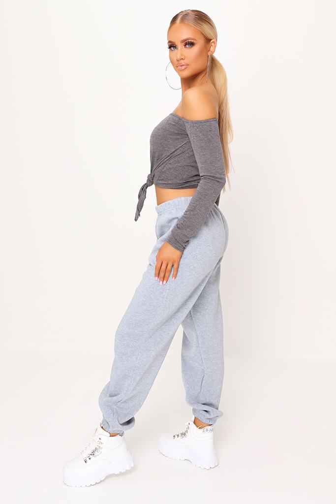 Charcoal Bardot Tie Knot Long Sleeve Crop Top view 3