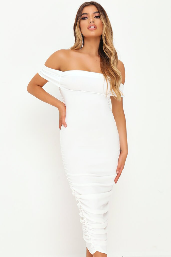 White Slinky Ruched Bardot Midi Dress view 2