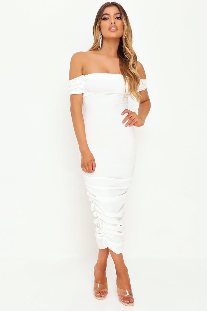 White Slinky Ruched Bardot Midi Dress