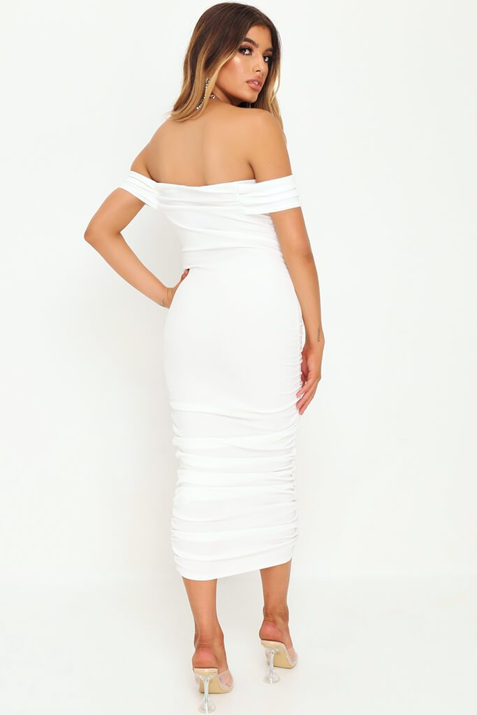 White Slinky Ruched Bardot Midi Dress view 5