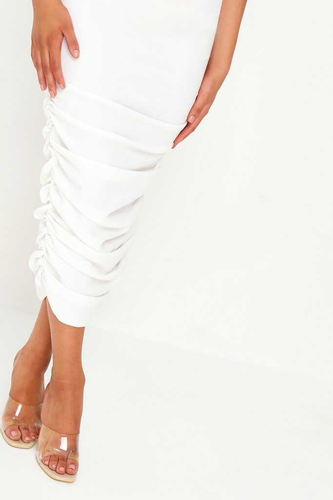 White Slinky Ruched Bardot Midi Dress view 4