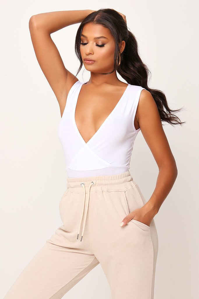 White Basic Wrap Plunge Bodysuit