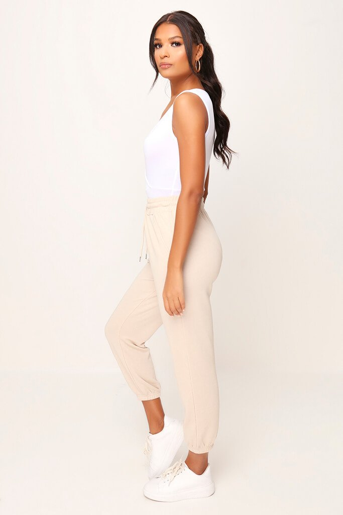 White Basic Wrap Plunge Bodysuit view 4