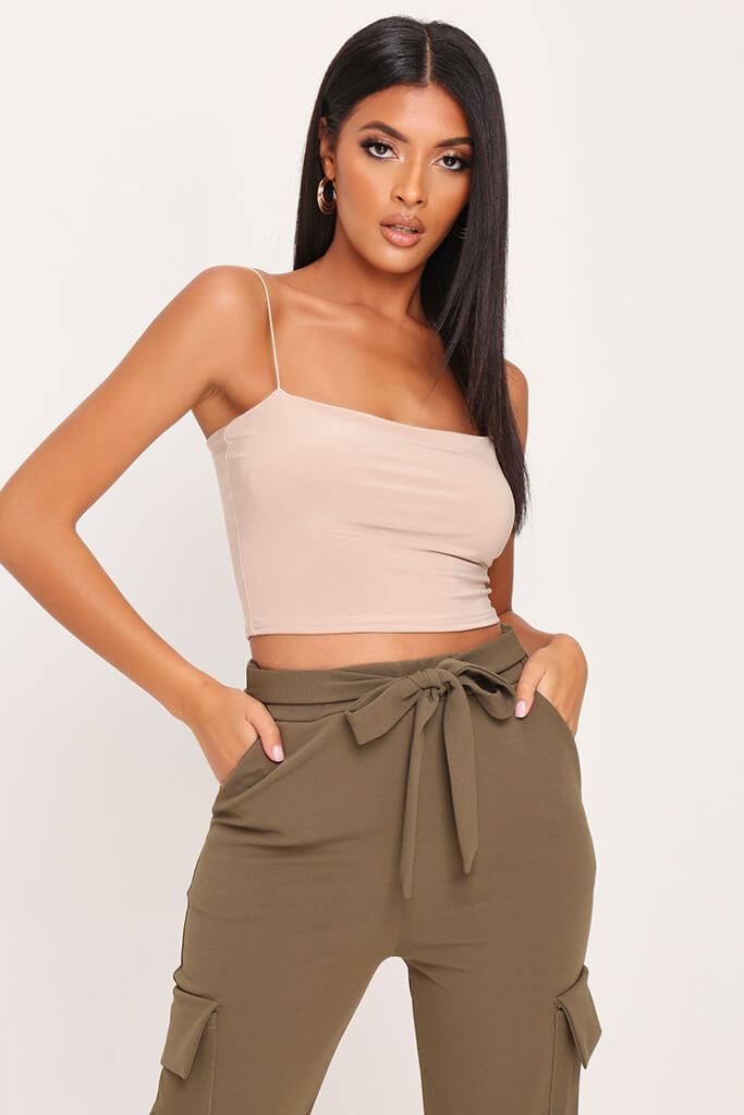 Sand Double Layer Square Neck Crop Top
