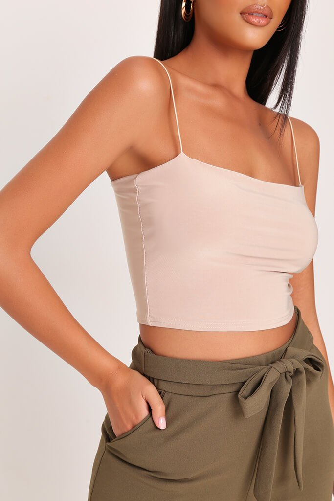 Sand Double Layer Square Neck Crop Top view 4