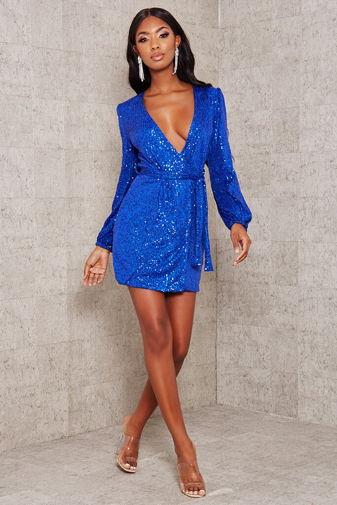 Cobalt Blue Sequin Belted Blazer Dress view 2