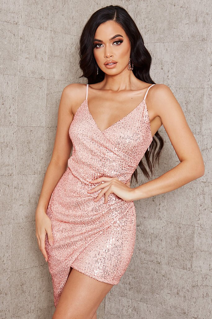 Rose Gold Wrap Sequin Mini Dress view main view