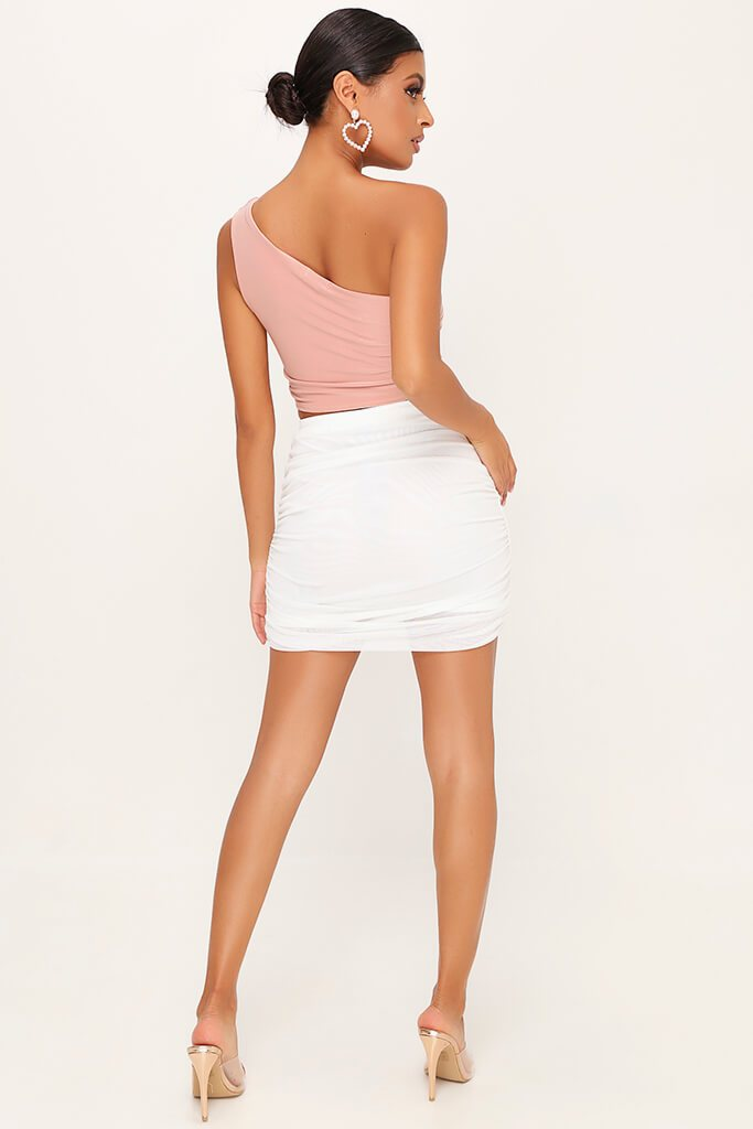 Blush Pink Double Layer Slinky Ruched One Shoulder Crop Top view 5