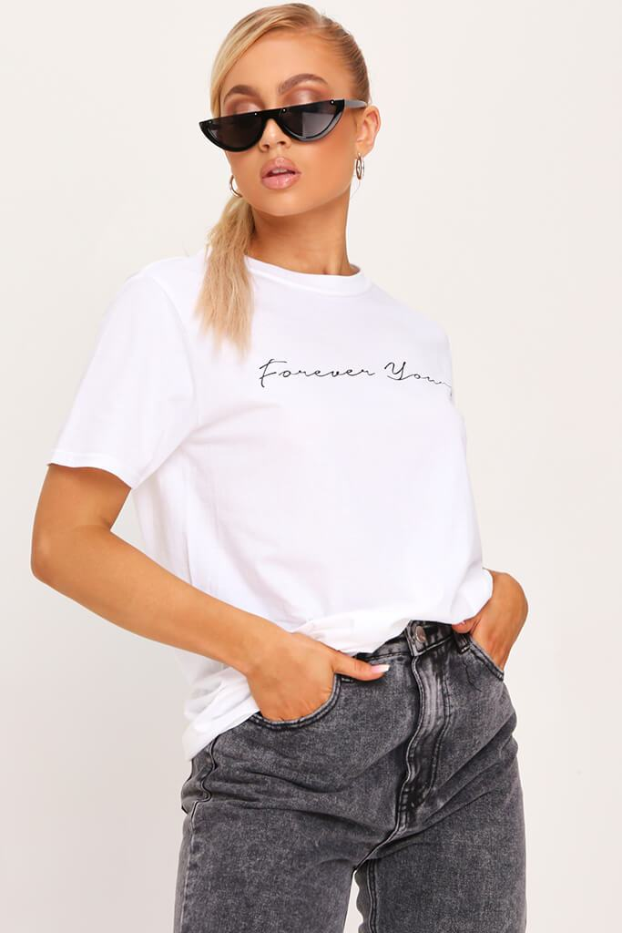 White Forever Yours Oversized T-Shirt view 2