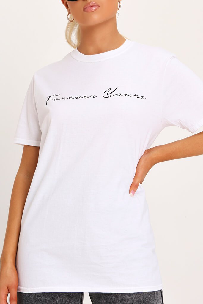 White Forever Yours Oversized T-Shirt view 4