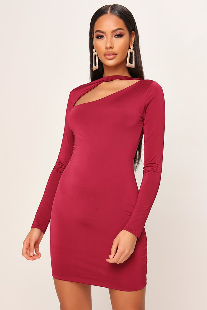 Burgundy Double Layered Cut Out Mini Dress
