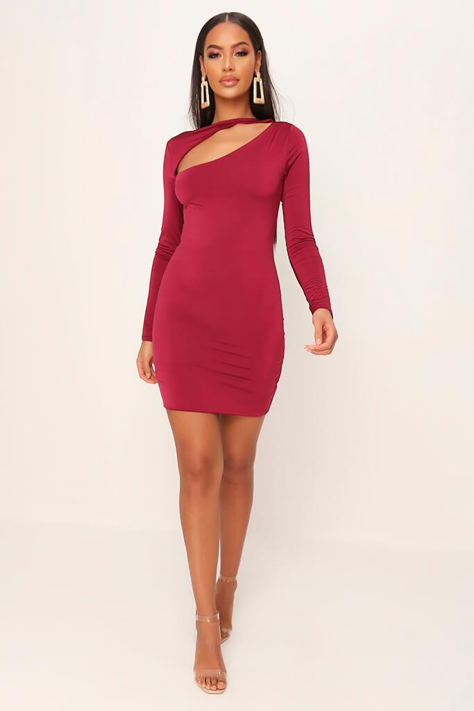 Burgundy Double Layered Cut Out Mini Dress view 2