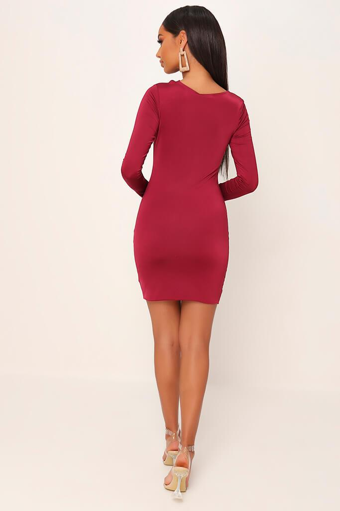Burgundy Double Layered Cut Out Mini Dress view 6