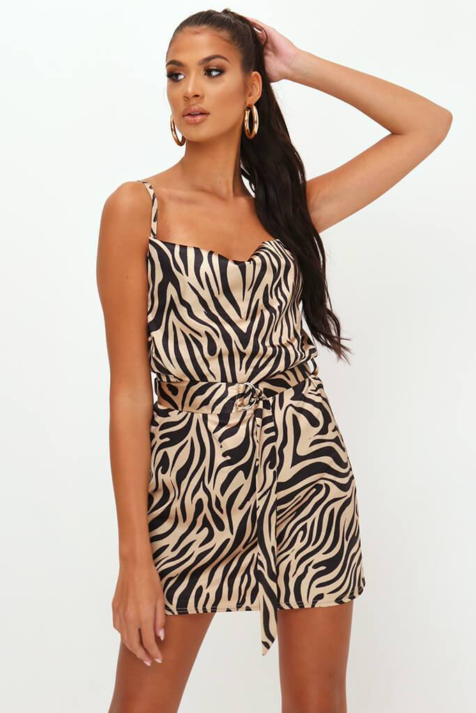 Beige Zebra Print Belted Satin Mini Dress