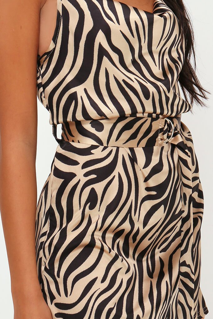 Beige Zebra Print Belted Satin Mini Dress view 4
