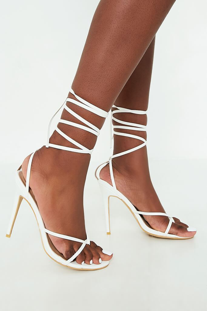 White Lace Up Strappy Sandal Heels view 3