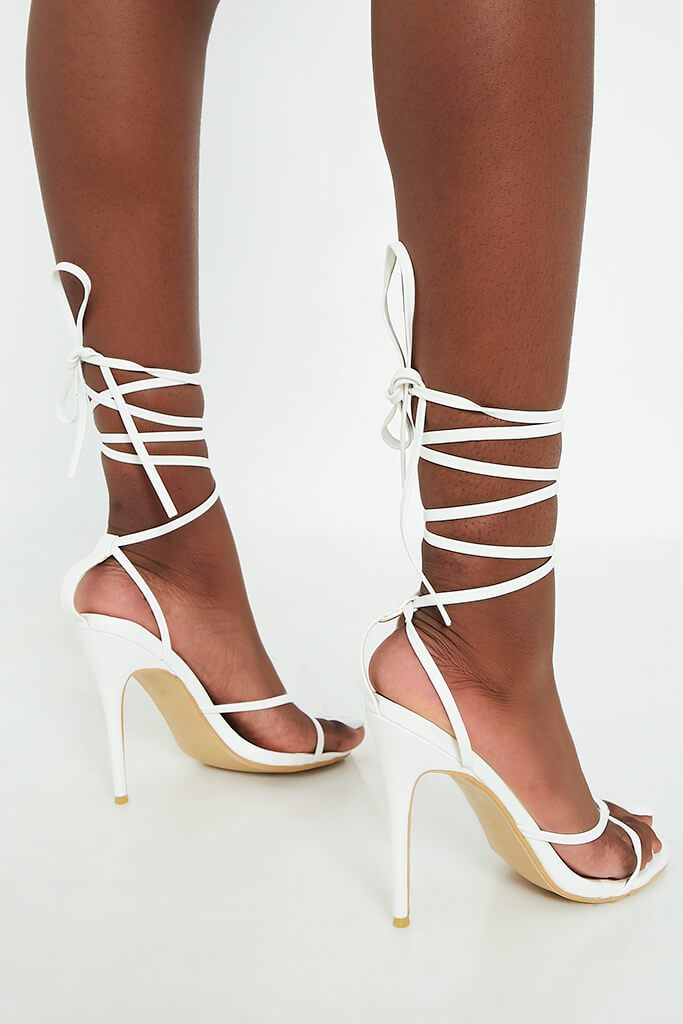 White Lace Up Strappy Sandal Heels view 4