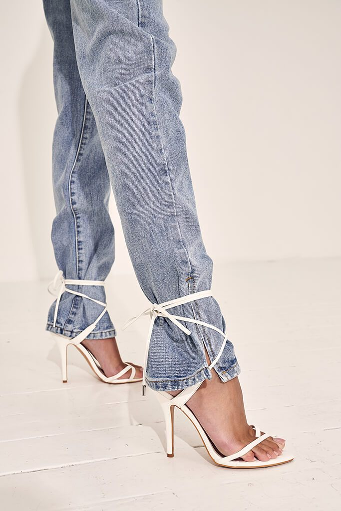 White Lace Up Strappy Sandal Heels