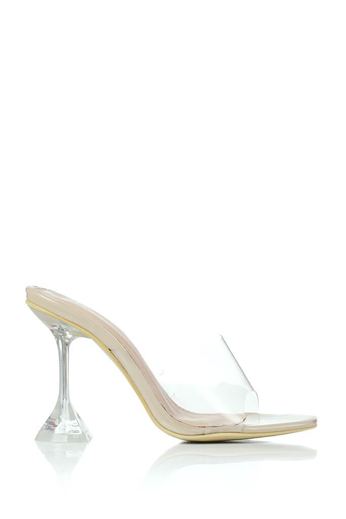 Nude Strappy Perspex Diamond Mule view 4