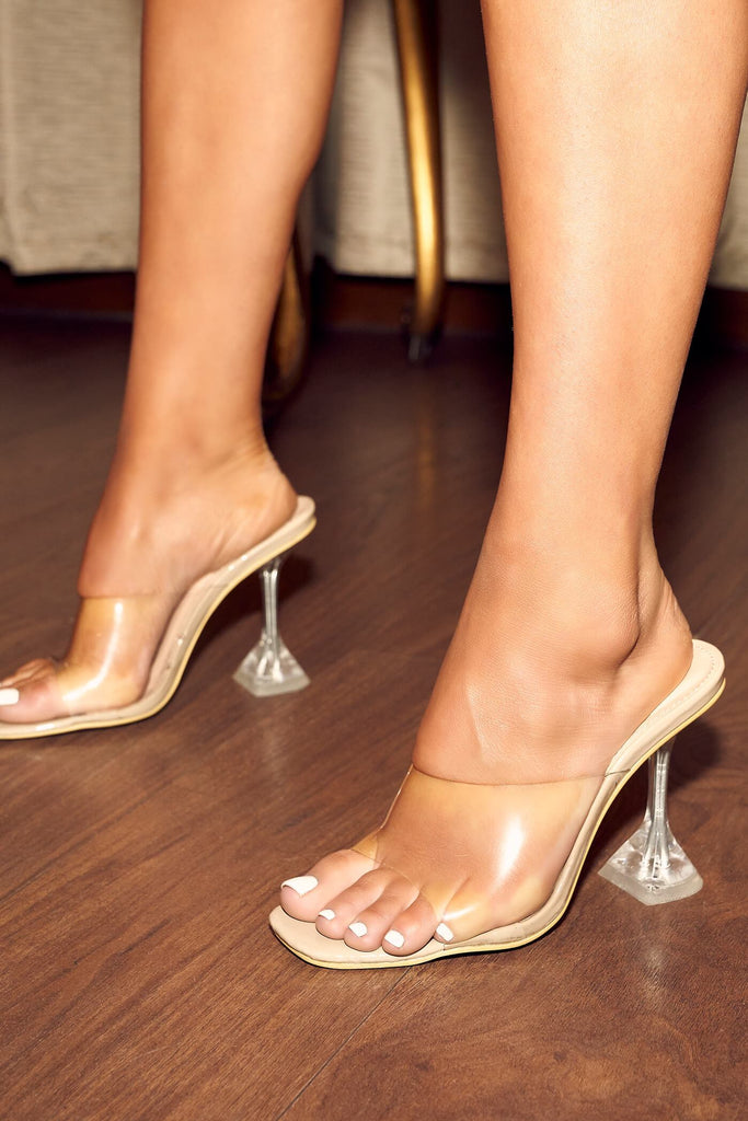 Nude Strappy Perspex Diamond Mule