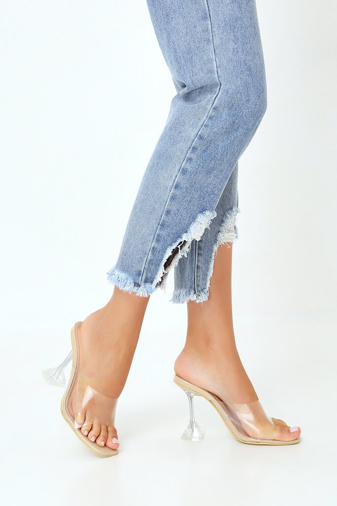Nude Strappy Perspex Diamond Mule view 2
