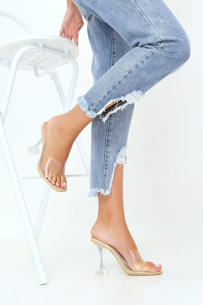 Nude Strappy Perspex Diamond Mule view 3