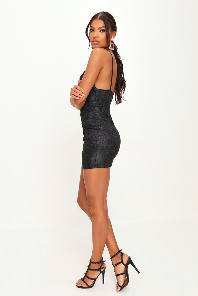 Metallic Ruched Front Mini Dress view 3