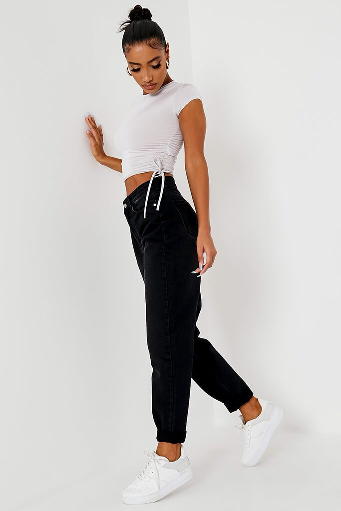 Black Dark Wash High Rise Mom Jeans view 3