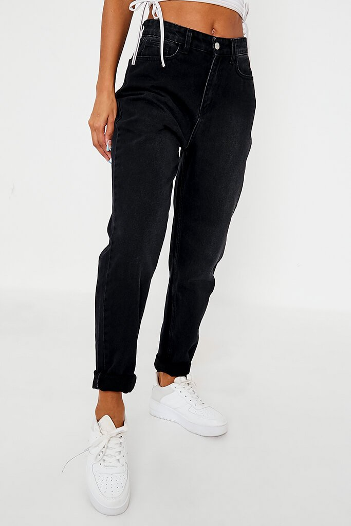 Black Dark Wash High Rise Mom Jeans view 2