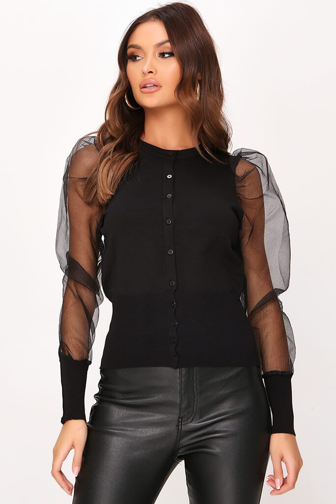 Black Organza Sleeve Knitted Cardigan