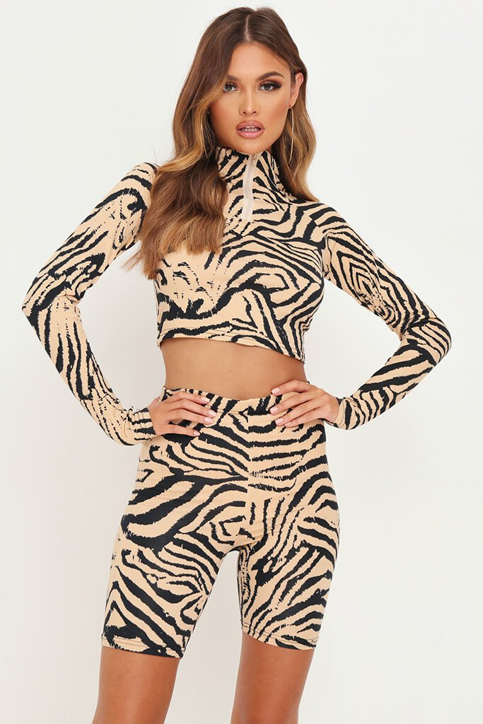 Animal Zebra Print Zip Front Active Set