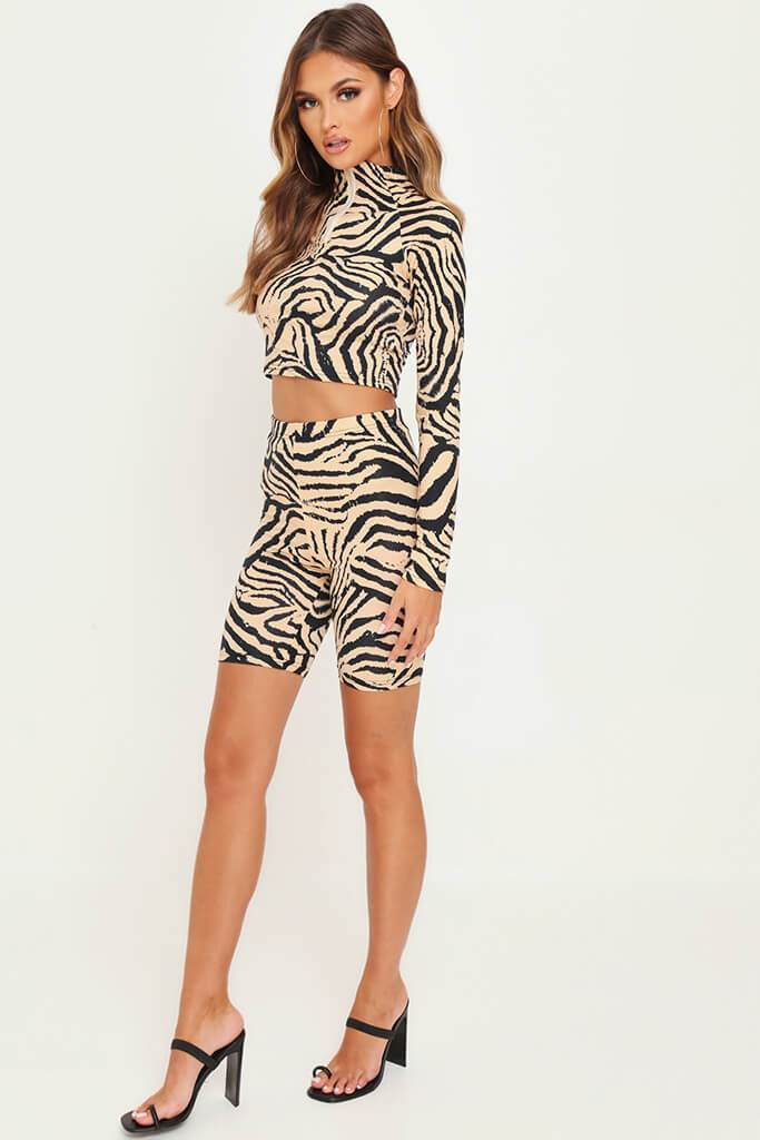 Animal Zebra Print Zip Front Active Set view 3