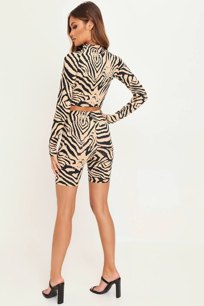 Animal Zebra Print Zip Front Active Set view 5