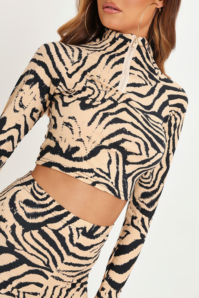Animal Zebra Print Zip Front Active Set view 4