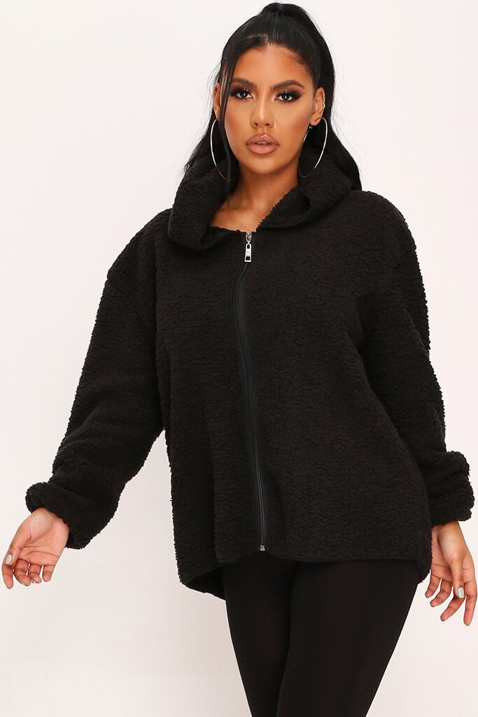 Black Hooded Zip Teddy Jacket