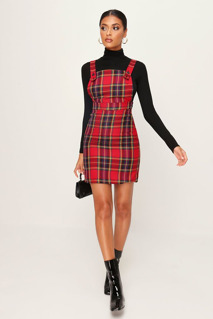 Red Woven Tartan Button Detail Pinafore Dress view 2