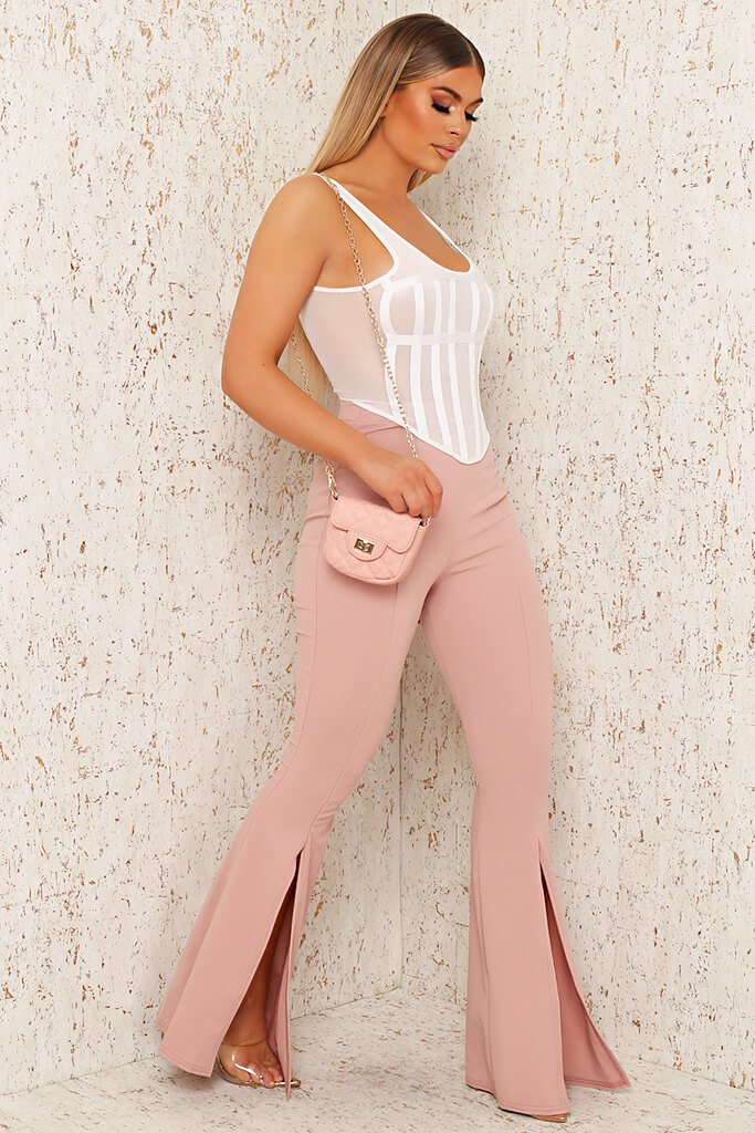 Blush Pink Split Front Flare Trousers view 3