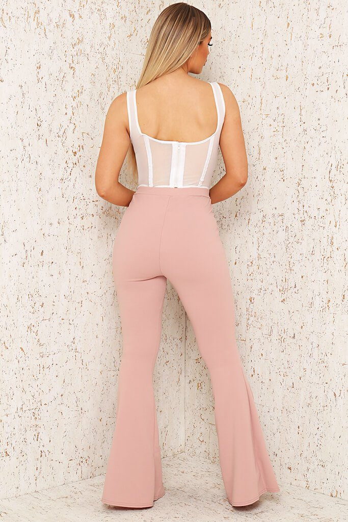 Blush Pink Split Front Flare Trousers view 5