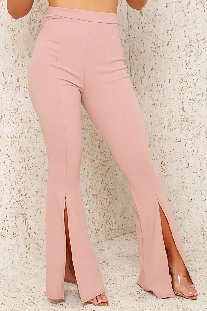 Blush Pink Split Front Flare Trousers view 2