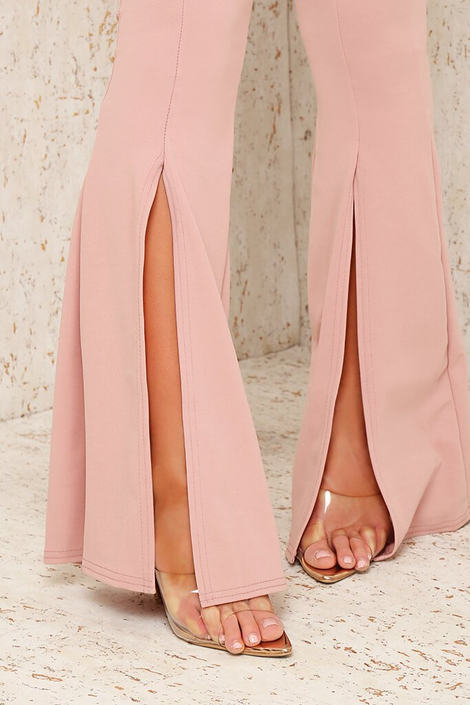 Blush Pink Split Front Flare Trousers view 4