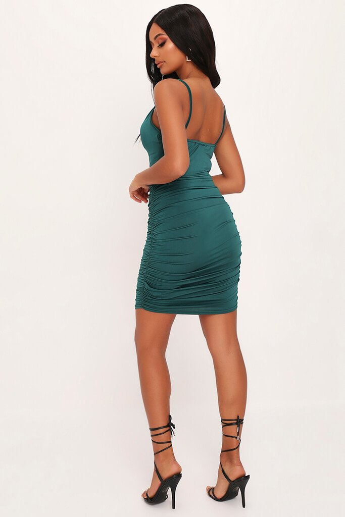 Emerald Green Cowl Neck Ruched Mini Dress view 5