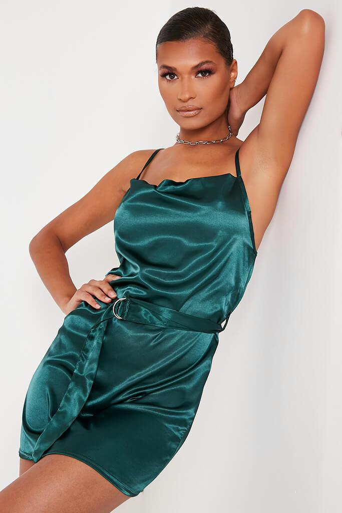 Emerald Green Satin Waist Belt Mini Dress