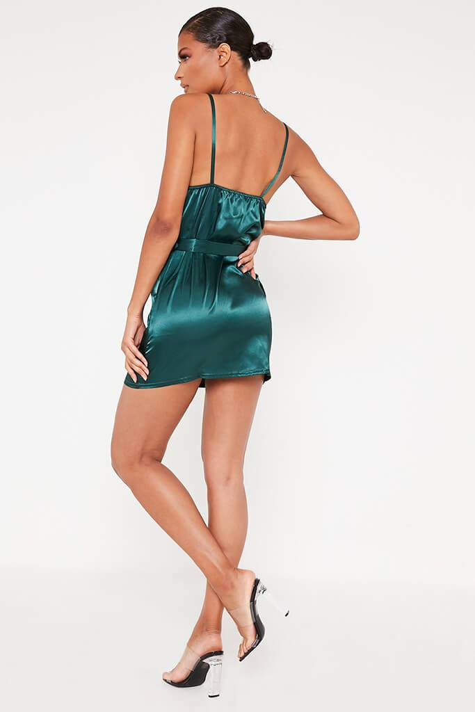 Emerald Green Satin Waist Belt Mini Dress view 5