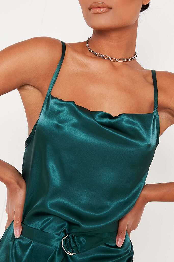 Emerald Green Satin Waist Belt Mini Dress view 4