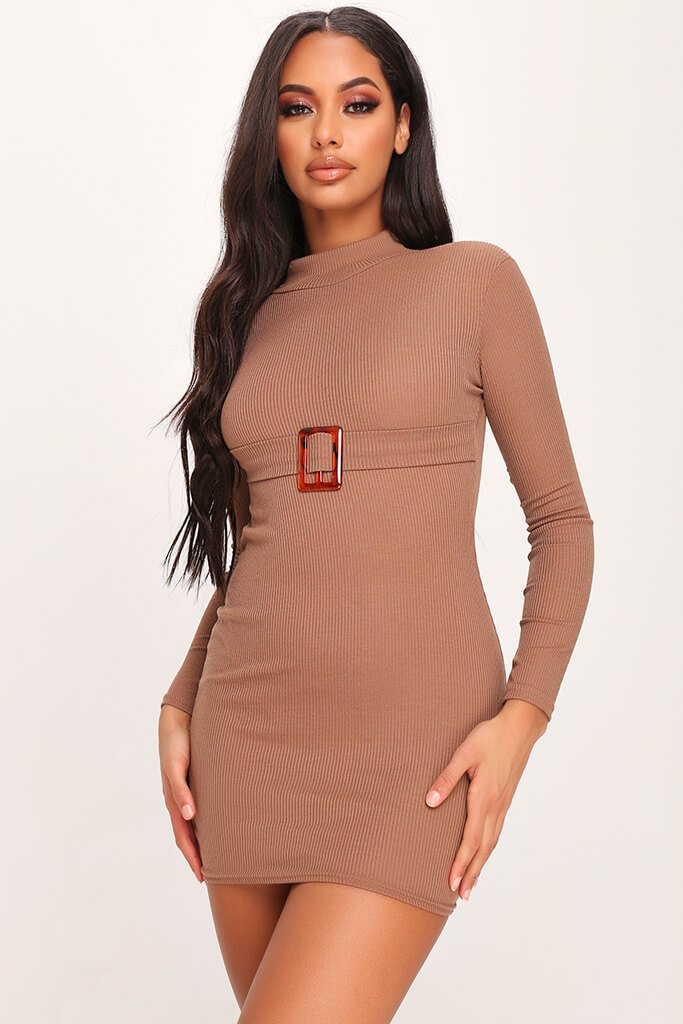 Mocha Ribbed High Neck Roll Neck Belted Bodycon Dress