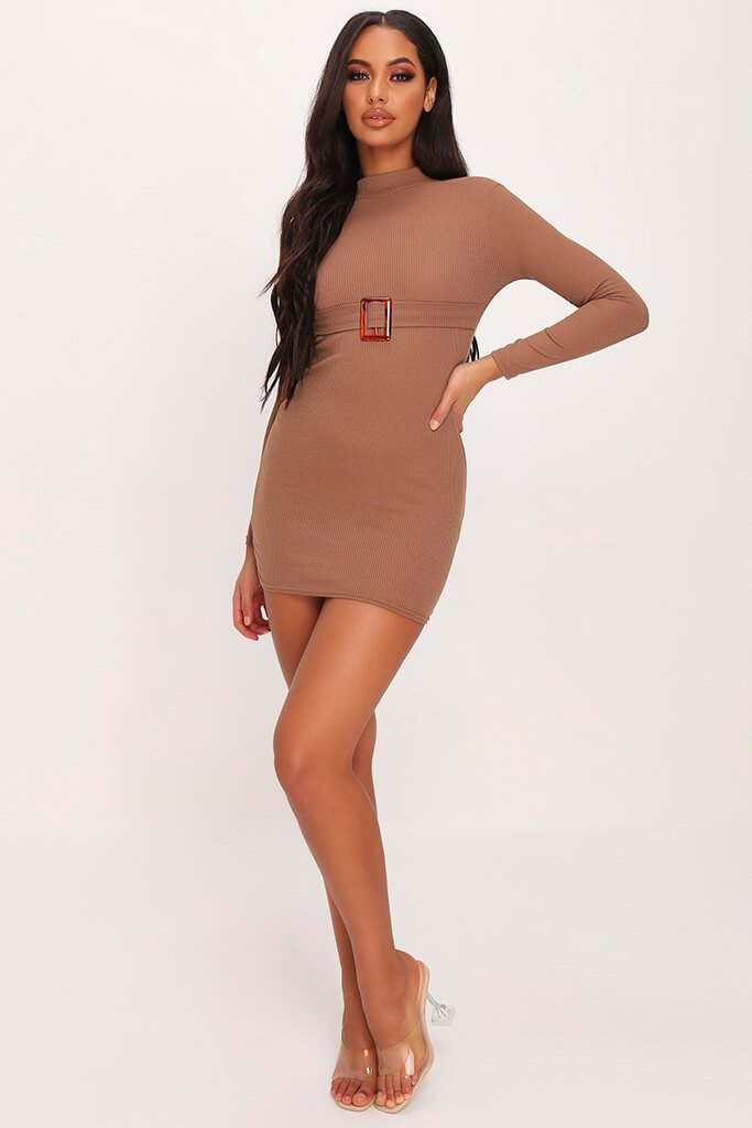 Mocha Ribbed High Neck Roll Neck Belted Bodycon Dress view 2