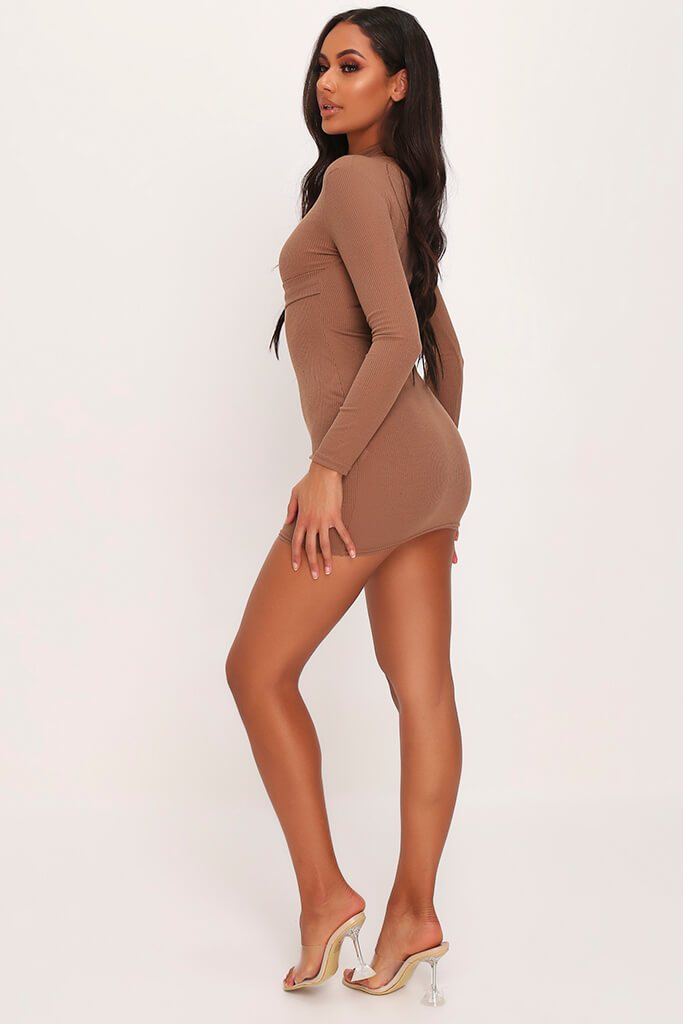 Mocha Ribbed High Neck Roll Neck Belted Bodycon Dress view 3